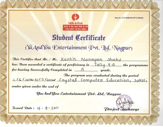 Computer Certificate Format Certificate Sample  Crystal Computer Education